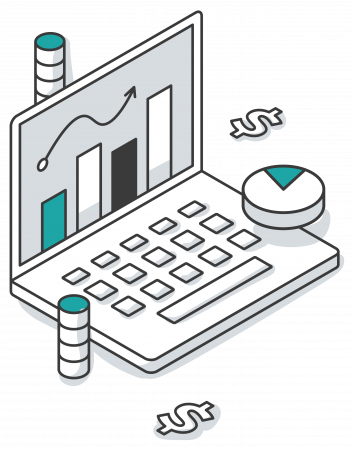 Computer illustration with dollar signs and coins around it and bar charts on the screen