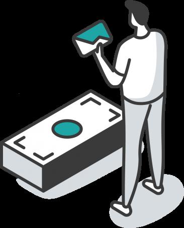 Payroll Management person holding envelope looking at large stack of dollar bills illustration