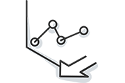 Dot graph and arrow icon