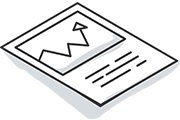 Report icon with line graph on paper