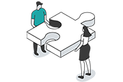 Icon of two people holding puzzle piece