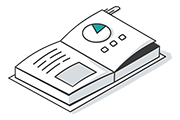 Book with charts and graphs icon