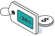 discount tag icon and dollar sign on coin icon