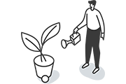 person watering plant with watering can