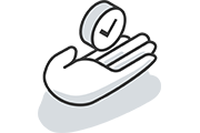 Hand holding a clock icon