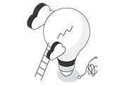 Icon of lightbulb with ladder and clouds