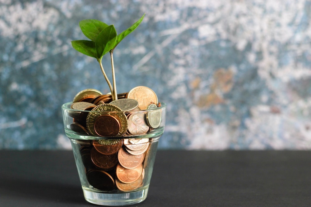 A glass flower pot filled with coins sprouting two green pairs of leaves sitting on a dark table