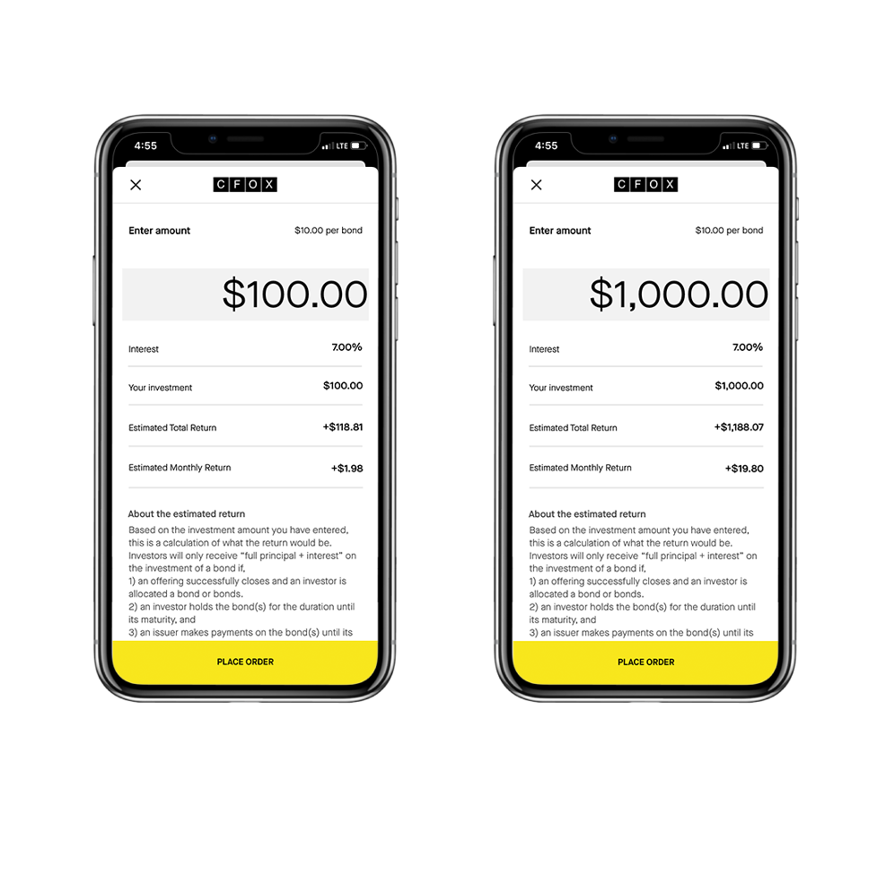 Cell phone showing bond offering of 100 and 1,000 dollars